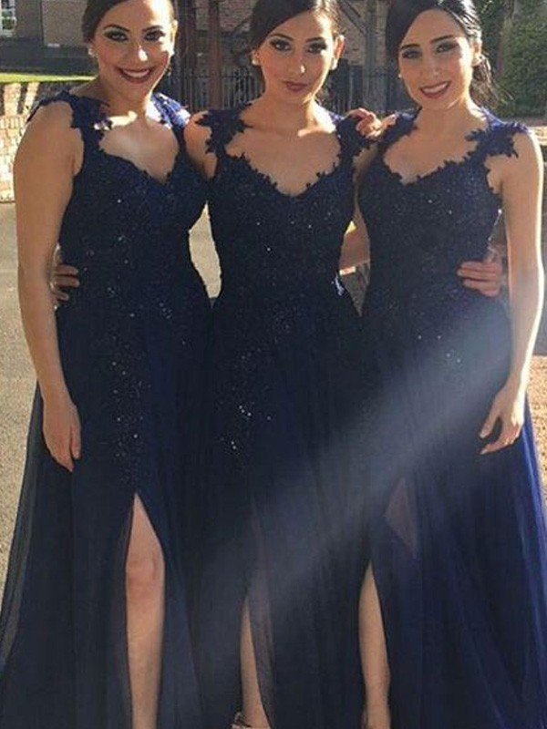 A-Line Chiffon Sweetheart Floor-Length Dark Navy Bridesmaid Dresses