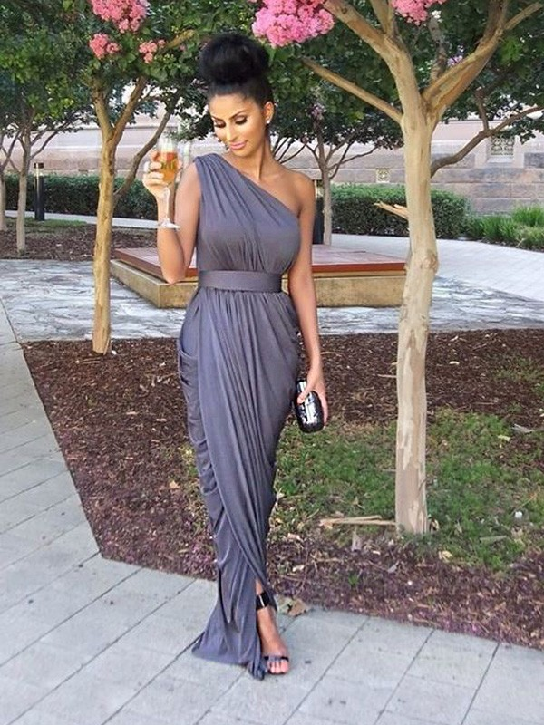 Grey One-Shoulder Jersey Floor-Length Bridesmaid Dresses
