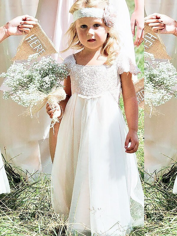 Short Sleeves Square Floor-Length Ivory Flower Girl Dresses with Lace