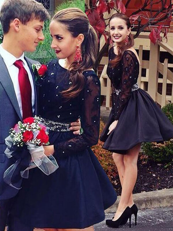 A-Line Scoop Short/Mini Black Prom Dresses with Beading
