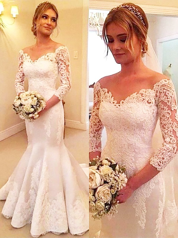 Ivory Mermaid Off-the-Shoulder Court Train Wedding Dresses