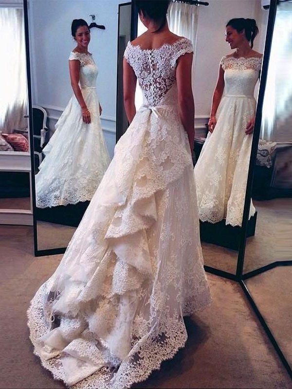 Ivory Scoop Lace Court Train Wedding Dresses