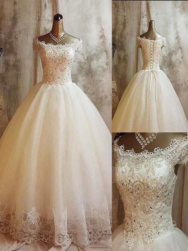 Off-the-Shoulder Brush Train Ivory Wedding Dresses with Applique