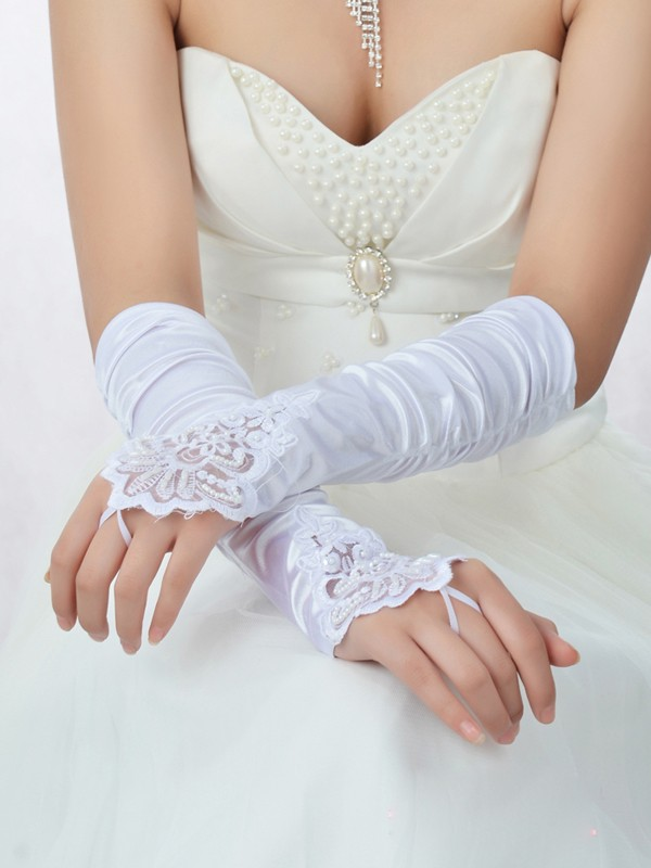 Romantic Lace Satin Beading Bridal Gloves