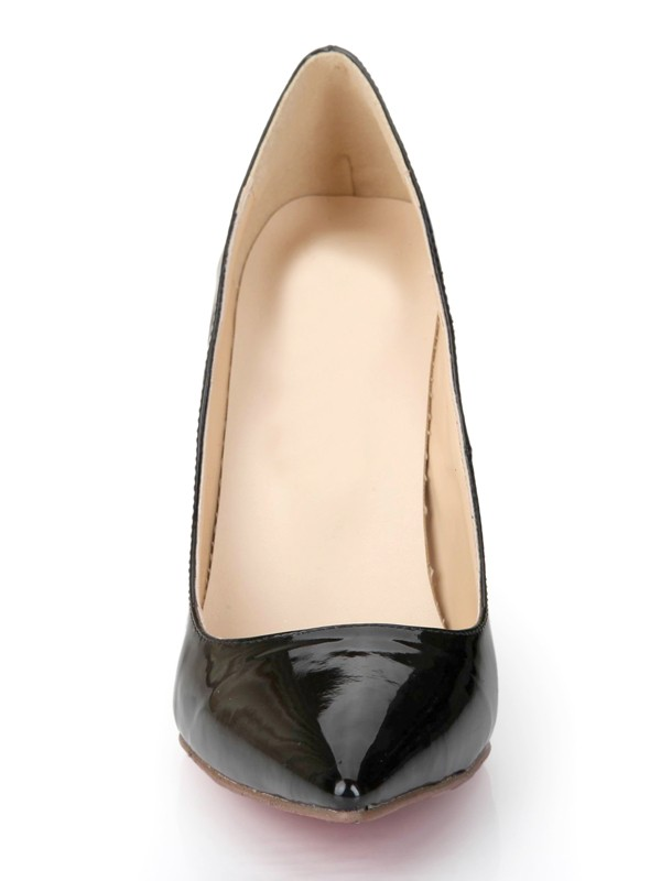 Black Patent Leather Closed Toe Stiletto Heel Office High Heels