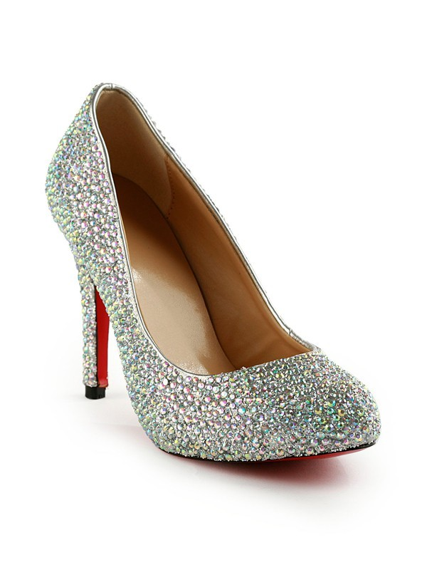 Stiletto Heel Rubber With Rhinestones Party & Evening High Heels