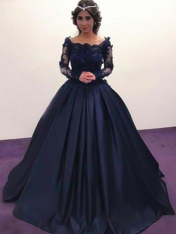Ball Gown Bateau Long Sleeves Sweep/Brush Train Applique Satin Dresses