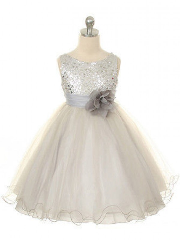 Ball Gown Organza Jewel Long Flower Girl Dresses