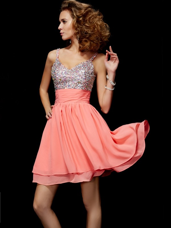Chiffon V-neck Short/Mini Watermelon Homecoming Dresses