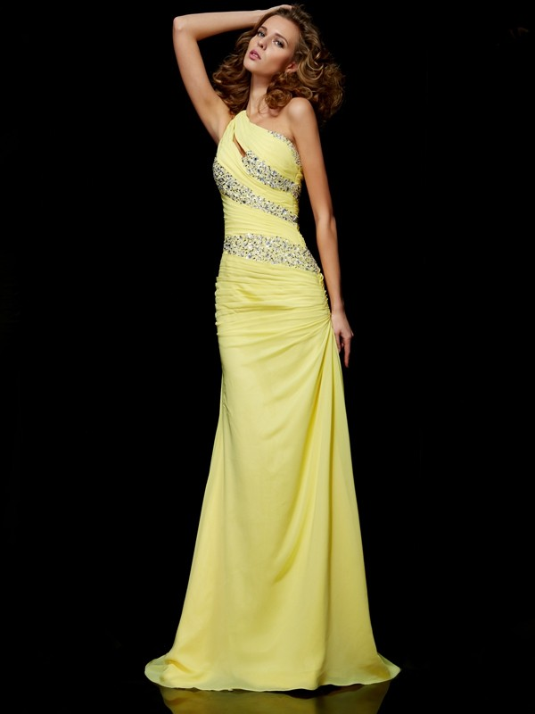 Sheath One-Shoulder Brush Train Yellow Prom Dresses