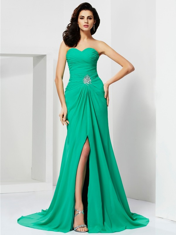 Sheath Sweetheart Brush Train Green Prom Dresses
