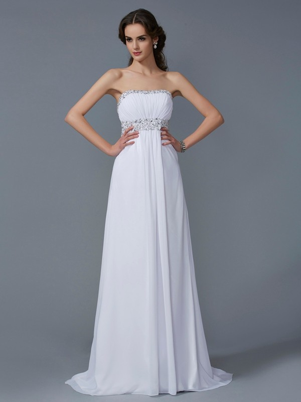 White A-Line Strapless Brush Train Prom Dresses with Beading