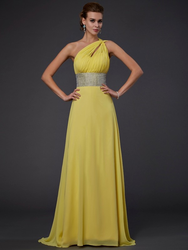 Floor-Length Yellow One-Shoulder Prom Dresses with Beading