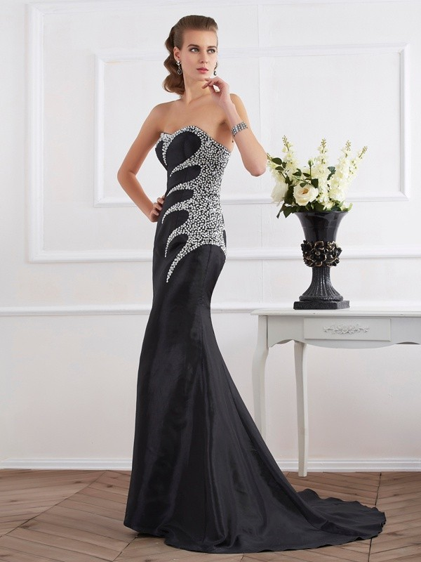 Mermaid Taffeta Strapless Brush Train Black Prom Dresses