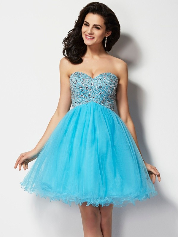 A-Line Sweetheart Short/Mini Blue Homecoming Dresses with Beading