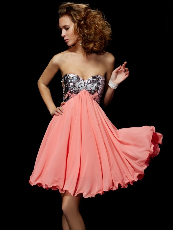 A-Line Sweetheart Short/Mini Watermelon Homecoming Dresses