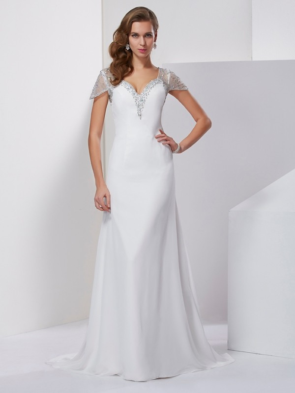 A-Line Chiffon Short Sleeves Sweetheart Brush Train White Prom Dresses