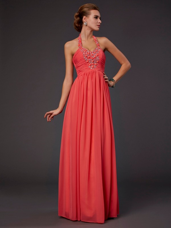 A-Line Halter Floor-Length Watermelon Prom Dresses