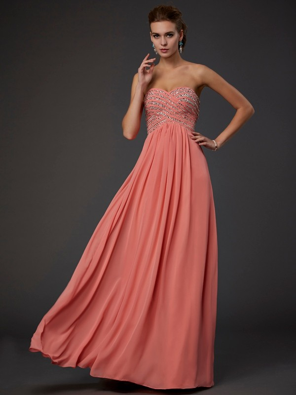 Chiffon Sweetheart Floor-Length Watermelon Prom Dresses