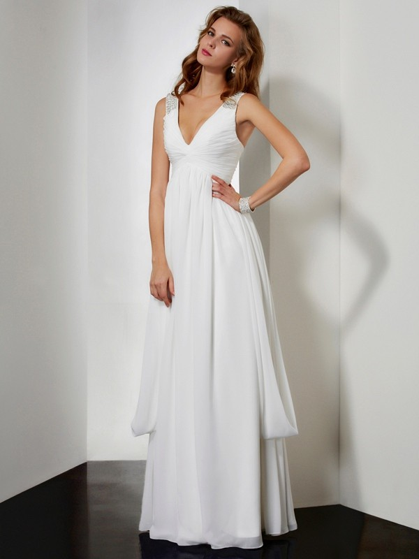A-Line V-neck Floor-Length Ivory Prom Dresses with Rhinestone