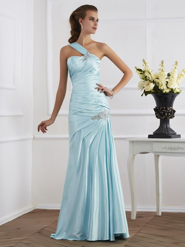 Mermaid Elastic Woven Satin One-Shoulder Long Blue Prom Dresses