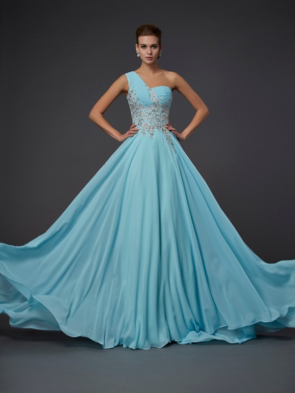 Chiffon A-Line Floor-Length One-Shoulder Sage Prom Dresses