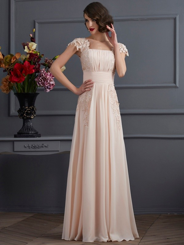 A-Line Chiffon Short Sleeves Square Long Prom Dresses with Lace