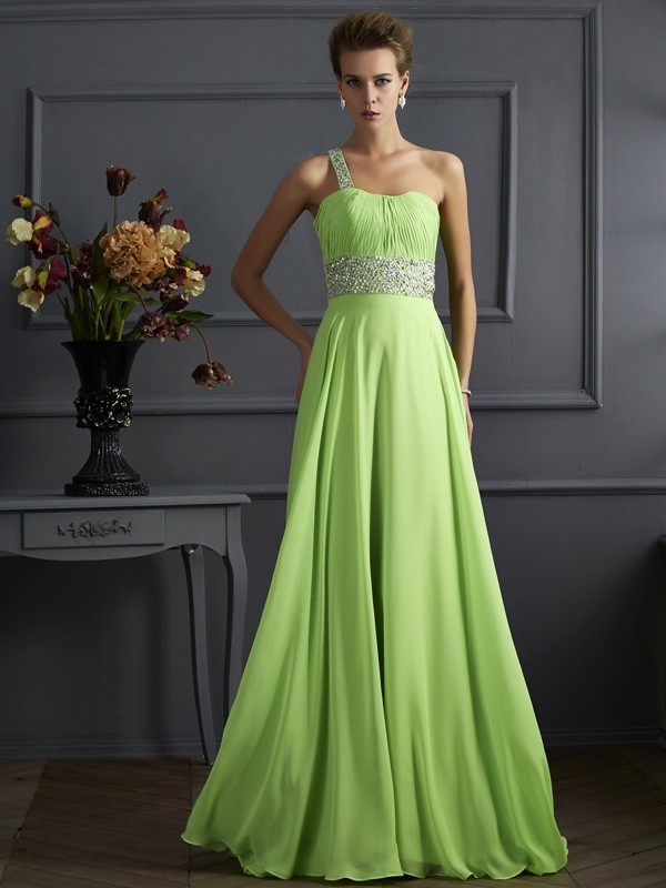 Green One-Shoulder Chiffon Floor-Length Prom Dresses