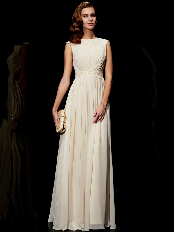 A-Line Jewel Floor-Length Ivory Prom Dresses with Beading