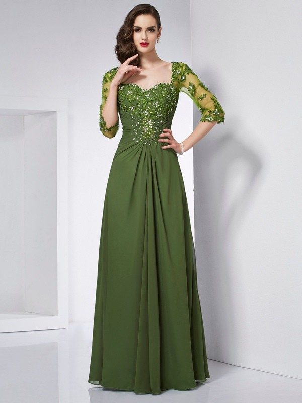Chiffon A-Line Long 3/4 Sleeves Sweetheart Green Prom Dresses