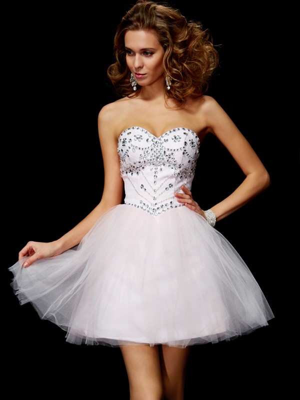 A-Line Organza Sweetheart Short/Mini Pearl Pink Homecoming Dresses