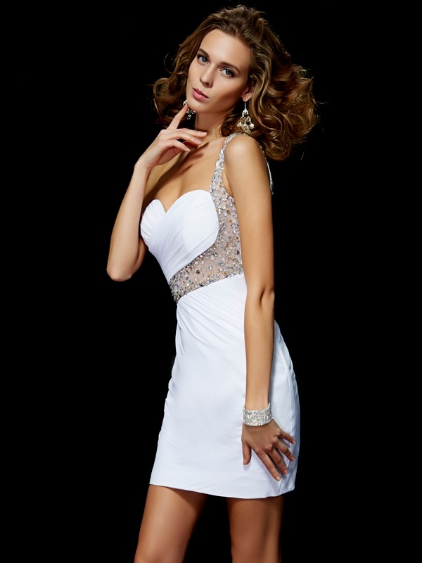 One-Shoulder Short/Mini White Homecoming Dresses with Sequin