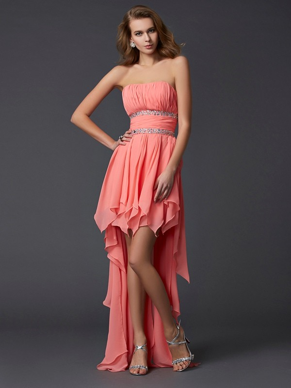 Empire Strapless Asymmetrical Watermelon Homecoming Dresses