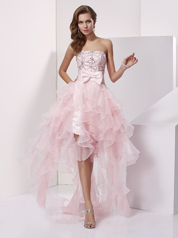 Pink A-Line Strapless Asymmetrical Homecoming Dresses with Beading