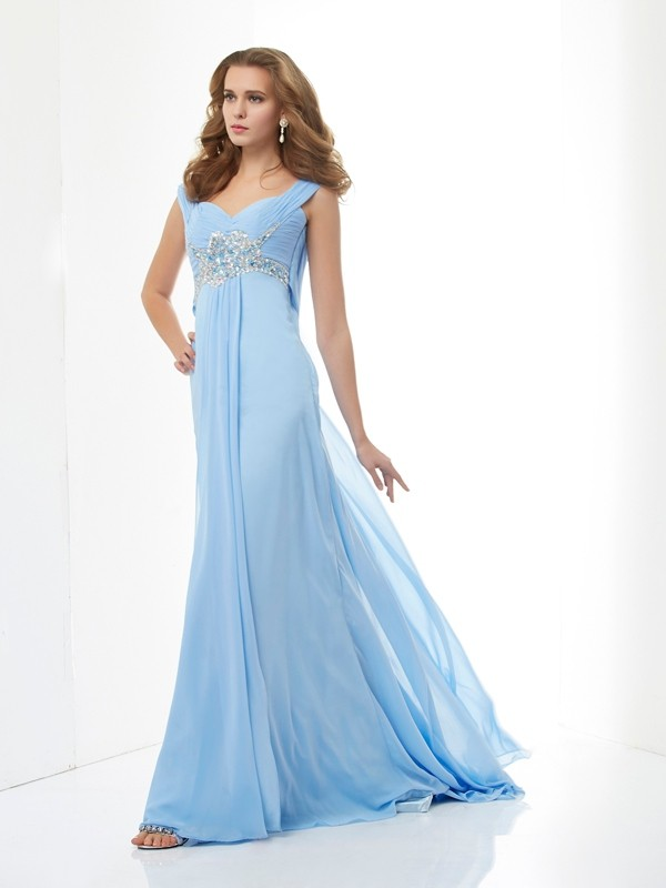 A-Line Sweetheart Brush Train Light Sky Blue Prom Dresses with Beading