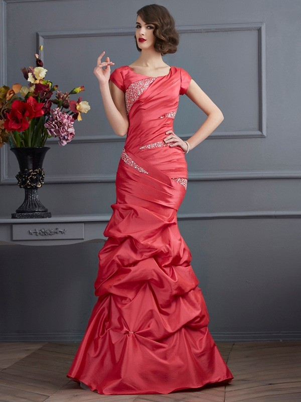 Taffeta Scoop Floor-Length Watermelon Prom Dresses