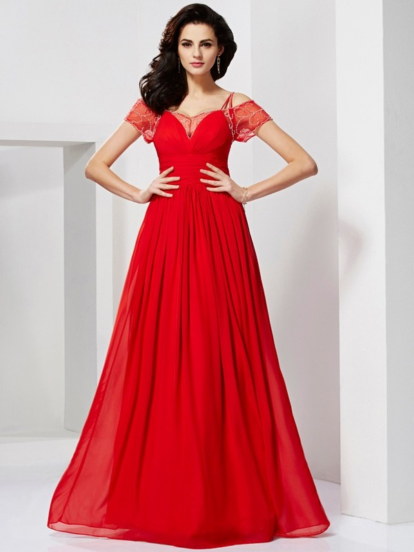 Long Red Short Sleeves Spaghetti Straps Prom Dresses with Beading