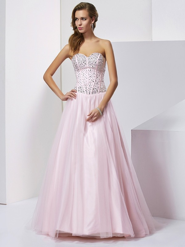 Ball Gown Sweetheart Floor-Length Pearl Pink Prom Dresses