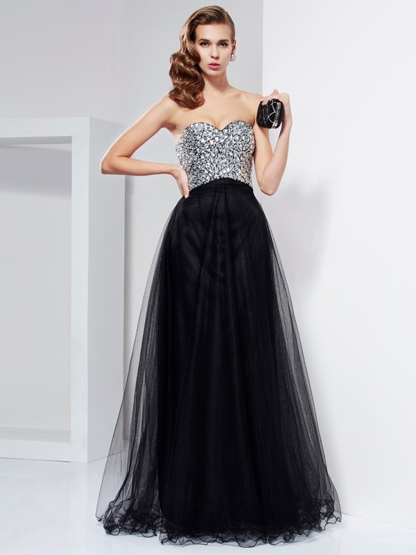 A-Line Elastic Woven Satin Sweetheart Long Prom Dresses with Beading