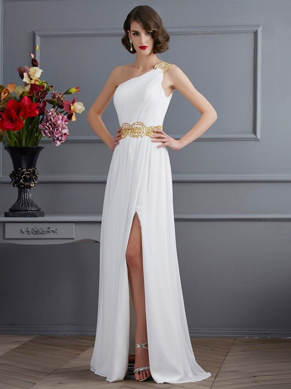 A-Line One-Shoulder Brush Train Ivory Prom Dresses with Ruched