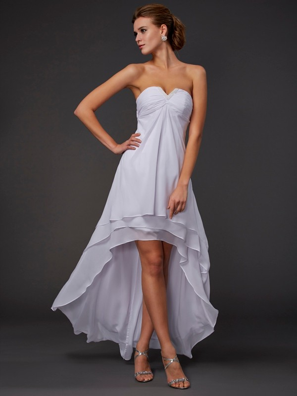 A-Line Sweetheart Asymmetrical White Prom Dresses with Ruffles