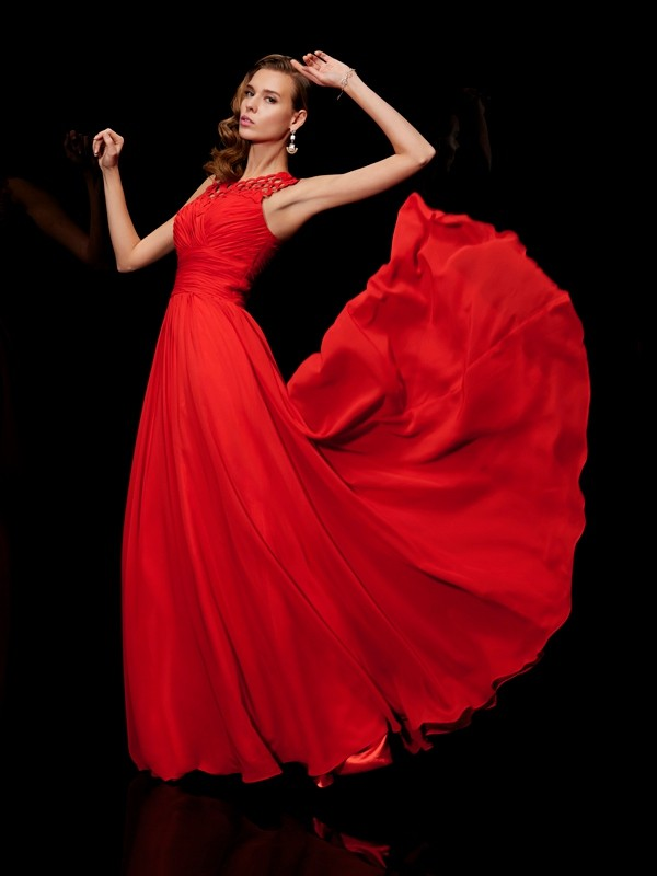 A-Line High Neck Floor-Length Red Prom Dresses