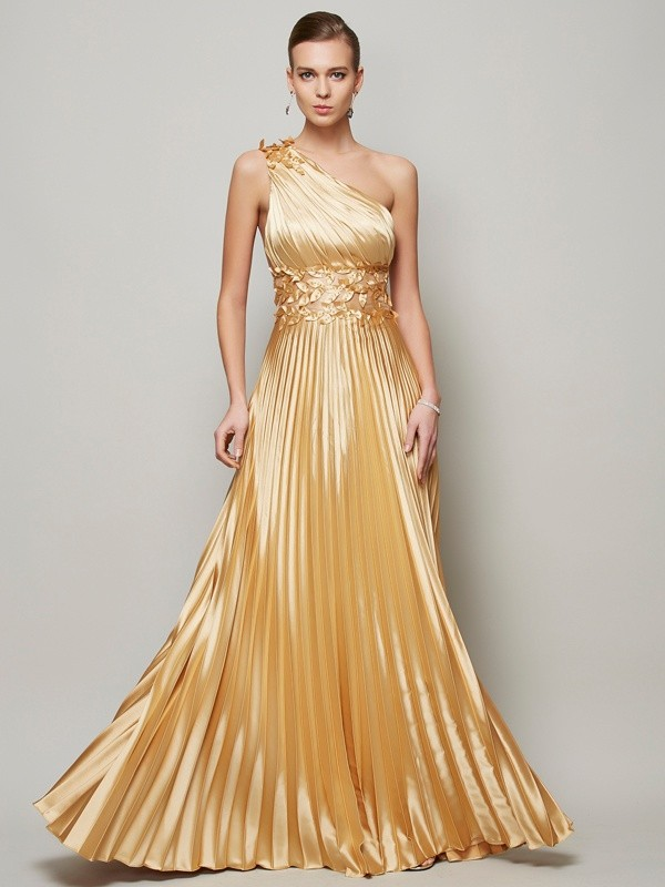Elastic Woven Satin One-Shoulder Floor-Length Gold Prom Dresses