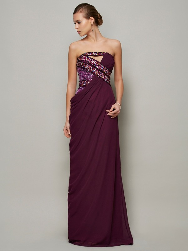 A-Line Strapless Floor-Length Grape Prom Dresses with Beading