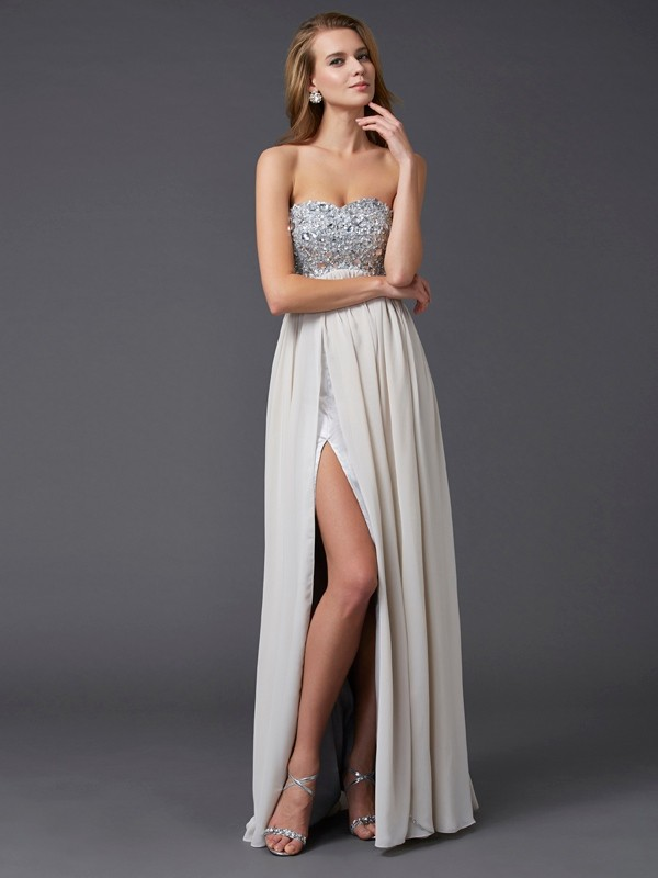 A-Line Sweetheart Floor-Length Champagne Prom Dresses