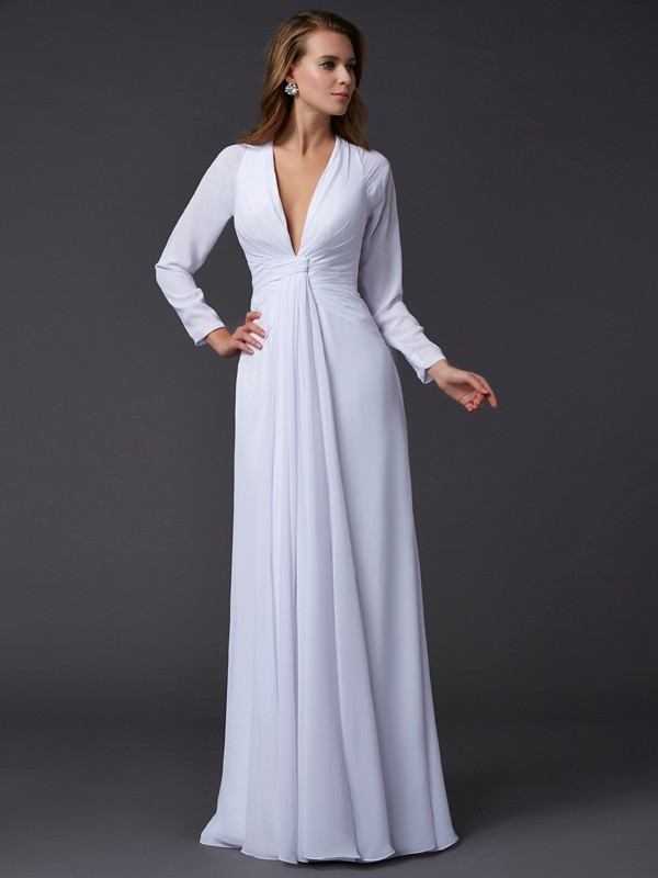 Chiffon Sheath Floor-Length Long Sleeves V-neck White Prom Dresses