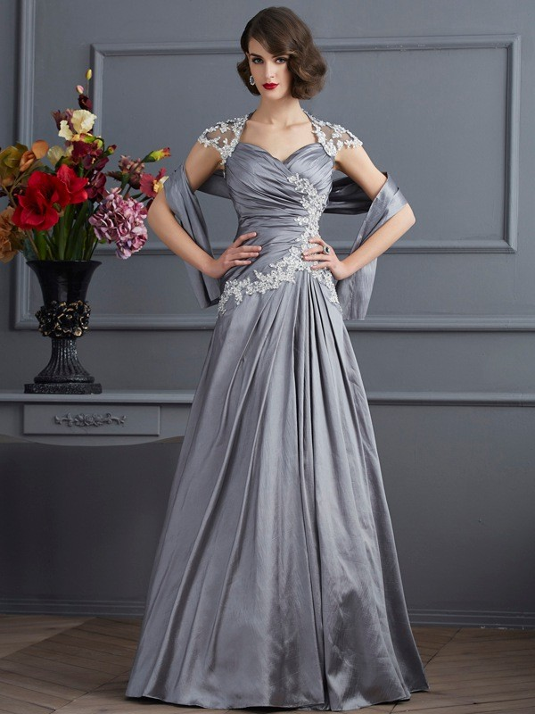 A-Line Sweetheart Floor-Length Silver Prom Dresses with Beading