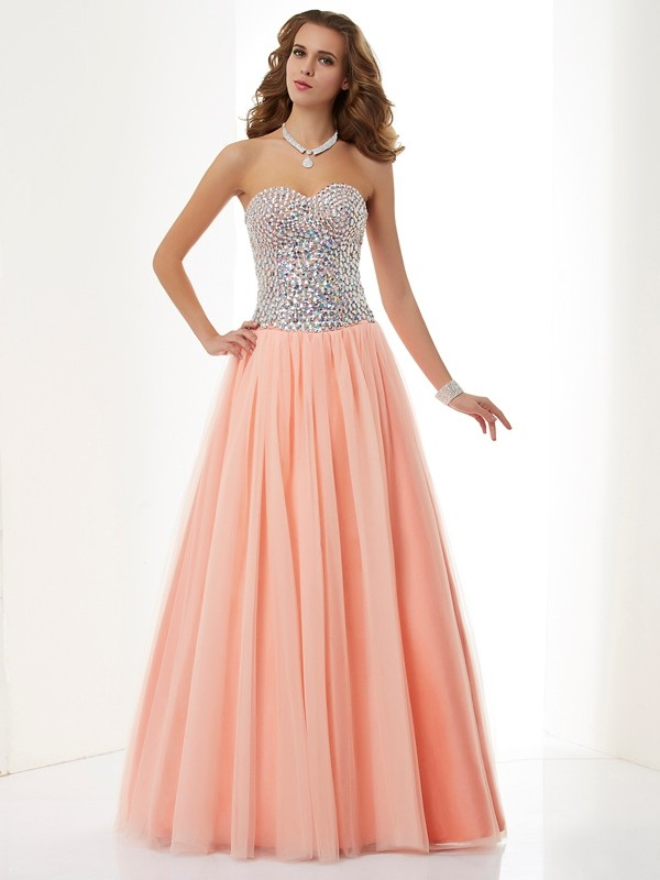 A-Line Elastic Woven Satin Sweetheart Long Orange Prom Dresses
