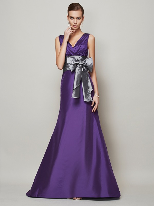A-Line V-neck Long Regency Prom Dresses with Sash/Ribbon/Belt