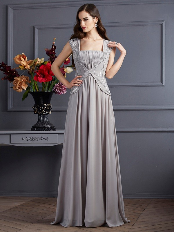 A-Line Square Floor-Length Grey Prom Dresses with Beading